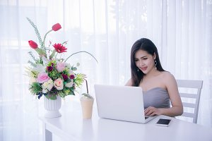 woman working business online