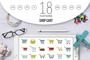 Shop cart icon set, flat style