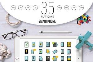 Smartphone icon set, flat style