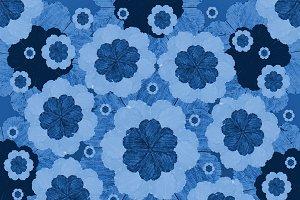 Felt Tip Indigo Floral Pattern
