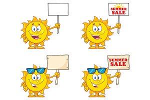 Sun Cartoon Character. Collection 6