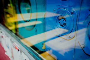 Close up of blue old sound retro speakers boxes behind the shop window vitrine