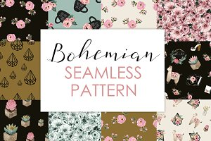 Seamless boho black patterns