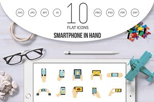 Smartphone in hand icon set, flat