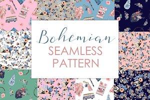 Seamless Boho Blue Pattern