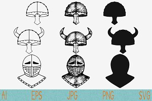viking helmet, set vector svg png