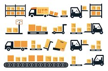 Shipping and delivery vector icons