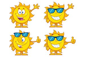 Sun Cartoon Character. Collection 6