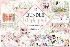 Blush Pink watercolor flowers BUNDLE