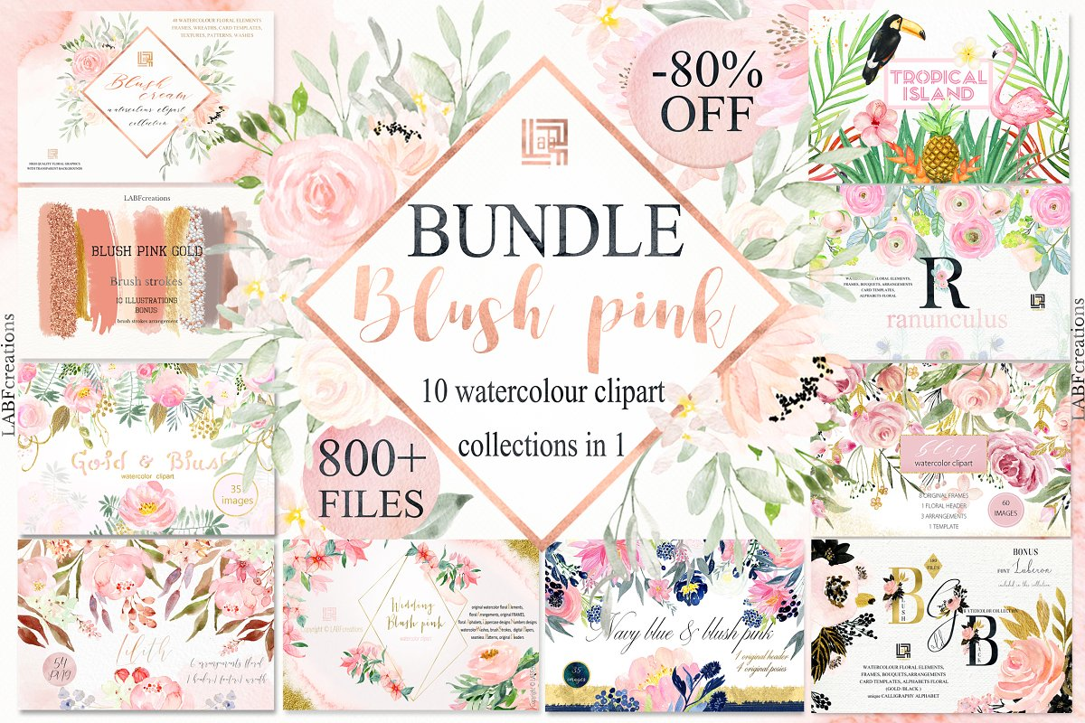 80%OFF Blush Pink watercolor BUNDLE