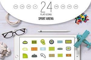 Sport arena icon set, flat style