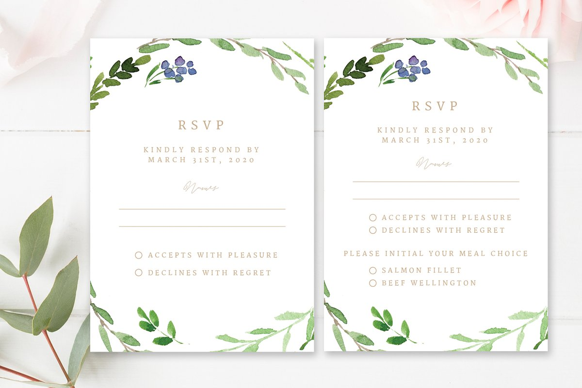 Wedding Response Cards.Greenery Wedding Rsvp Cards
