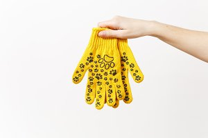 Close up of female hand horizontal holds building yellow gloves with fun print isolated on white background. Instruments, tools for renovation apartment room. Repair home concept. Advertising area.