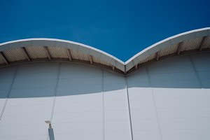 Arch formed roof of modern building used for Aircraft Exhibitions