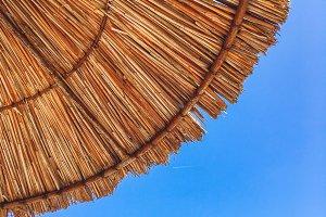 Beach umrella and blue sky