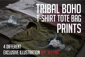 Tribal skull set. Boho style.