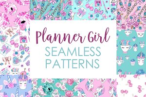 Planner seamless pattern purple