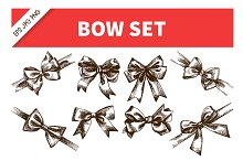 Bow Ribbon Hand Drawn Vintage Set