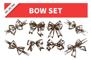 Bow Ribbon Hand Drawn Vintage Set