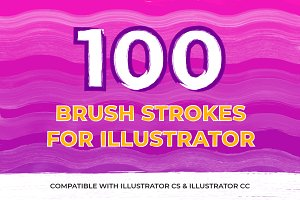 100 Brush Strokes For Illustrator