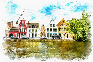 watercolor landscape of Bruges