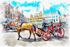watercolor of Carriage in scenery