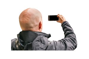 Man Taking a Photo with Smartphone