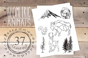 Geometric Animals & Rustic Landscape