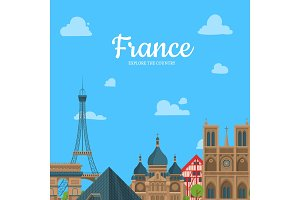 Vector cartoon France sights and objects background with place for text illustration
