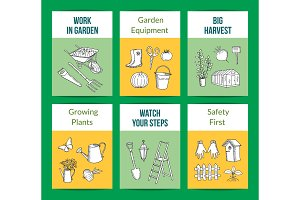 Vector gardening doodle icons card templates set illustration