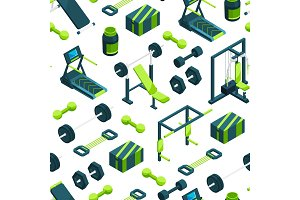 Vector isometric gym objects background or pattern illustration
