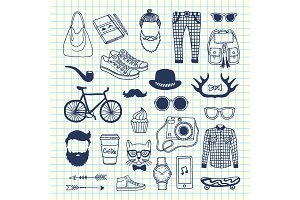 Vector hipster doodle icons on cell sheet illustration