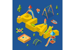 Vector isometric playground objects around word play concept illustration
