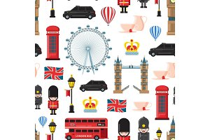 Vector cartoon London sights and objects background or pattern illustration