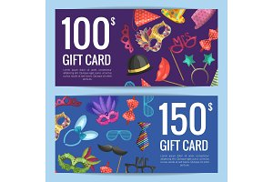 Vector discount or gift card voucher with masks and party accessories