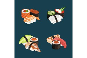 Vector cartoon sushi types piles set