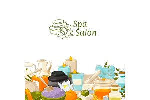 Vector background with place for text with cartoon beauty and spa elements