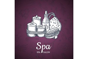 Vector hand drawn spa elements background with place for text illustration