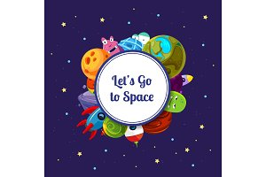 Vector cartoon space planets and ships under circle with place for text illustration