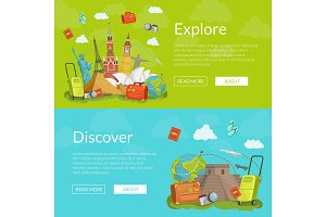 Vector horizontal web banners illustration
