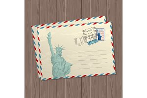 Vector vintage style letters with the statue of liberty, marks and stamps of usa and place for text on wooden texture background