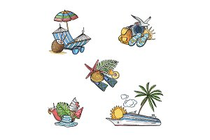 Vector hand drawn summer travel elements illustration