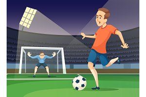 Background sport illustration of playing characters. Soccer mascots
