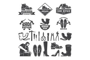 Monochrome illustrations of various tools for shoe repair. Labels or logos for clothing factory