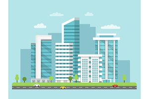 Background illustration of urban landscape with modern buildings