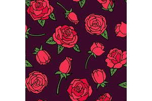 Vector seamless pattern with illustrations of red roses