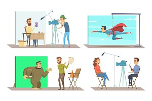 Different characters at movie making production. Vector pictures set