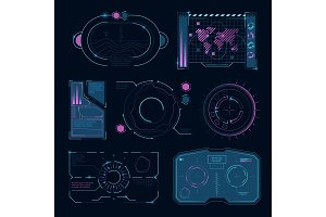 Tech interface futuristic high tech symbols. Hud ui