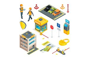 Various isometric pictures at cars parking theme
