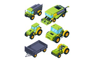 Isometric illustrations of combine, tractor and other various agriculture machines